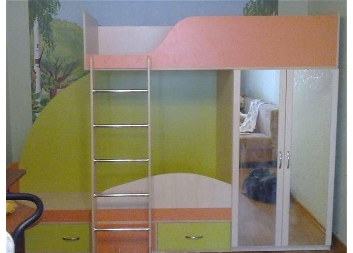 Детская двухъярусная кровать со шкафом (а4) Fimebel 80x190