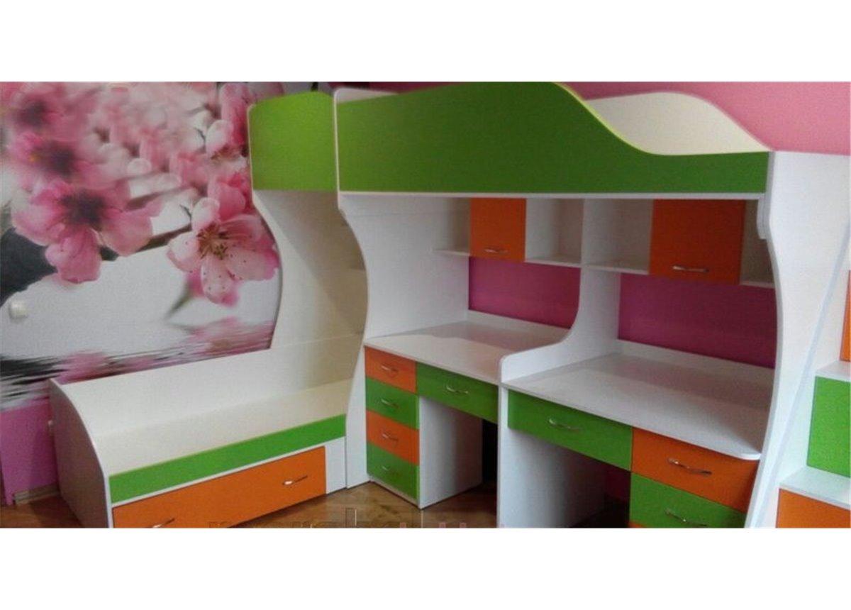 Детская двухъярусная кровать с двумя столами и лестницей-комодом (ал3) Мерабель 80x190