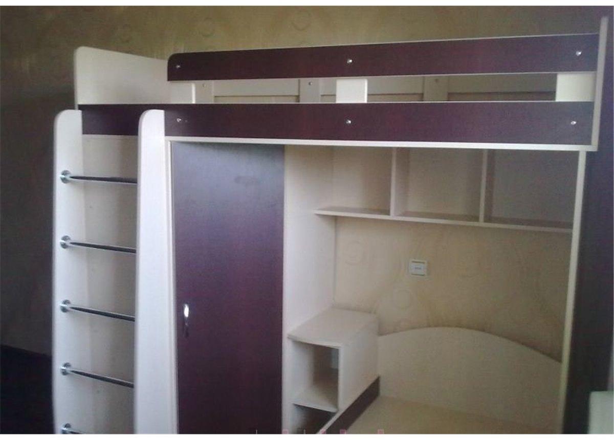 Детская двухъярусная кровать с угловым шкафом (а3) Мерабель 80x190
