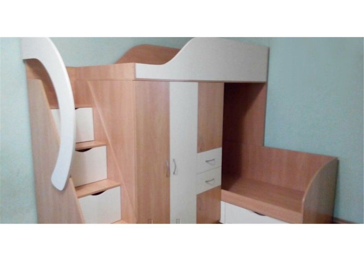 Детская двухъярусная кровать со шкафом, тумбой, ящиками и лестницей-комодом (ал17-2) Мерабель 80x190