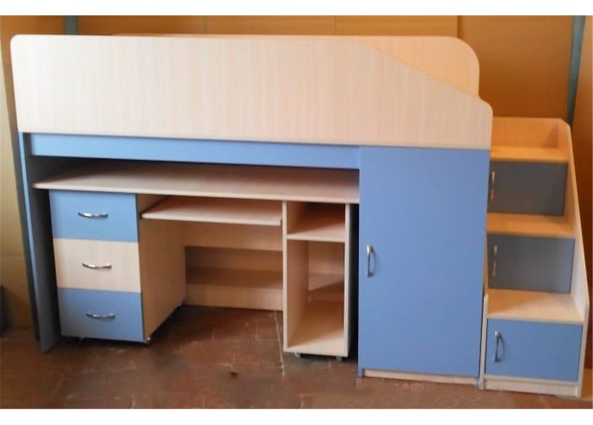 Кровать-чердак с мобильным столом, пеналом, полками и лестницей-комодом (кл9) Мерабель 80x190