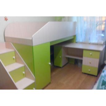 Кровать-чердак с мобильным столом, пеналом, полками и лестницей-комодом (кл9-2) Мерабель 80x190