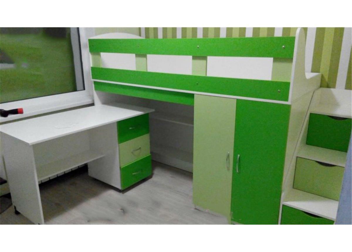 Кровать-чердак с мобильным столом, пеналом, полками и лестницей-комодом (кл9-3) Мерабель 80x190