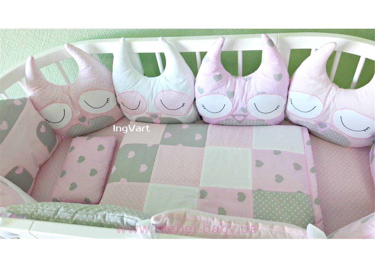 "Комплект ""Совушки и домики"" Плюс IngVart розово-серый"