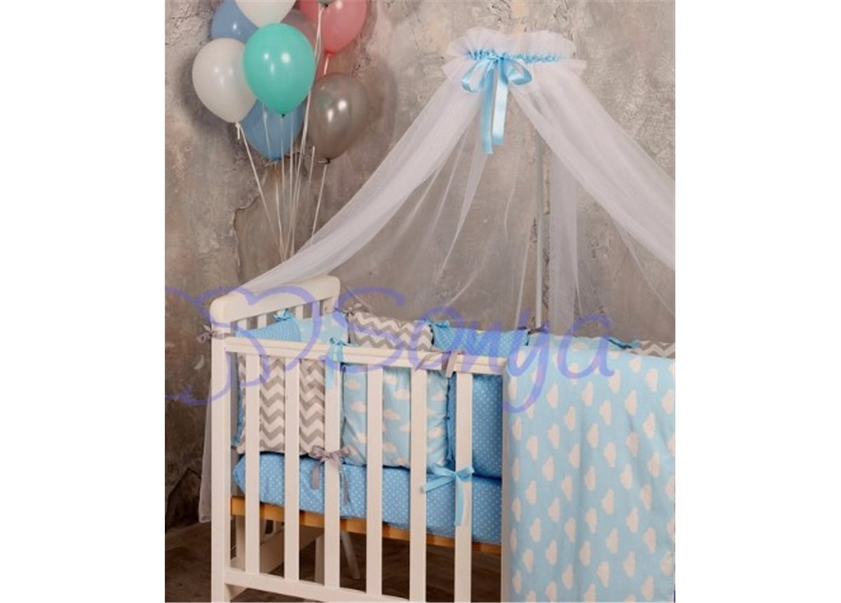 Балдахин Baby Design белый с голубым Маленькая Соня