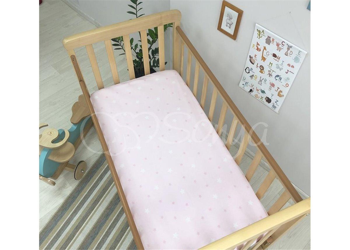 Простынь детская звездочка на розовом н/р 60х120 Маленькая Соня