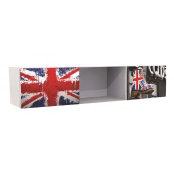 Полка на три секции с двумя дверками Англия 37x165x35