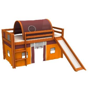 Кровать-чердак с горкой и матрасом GABI Z IGLO Fmebel EB 80x180