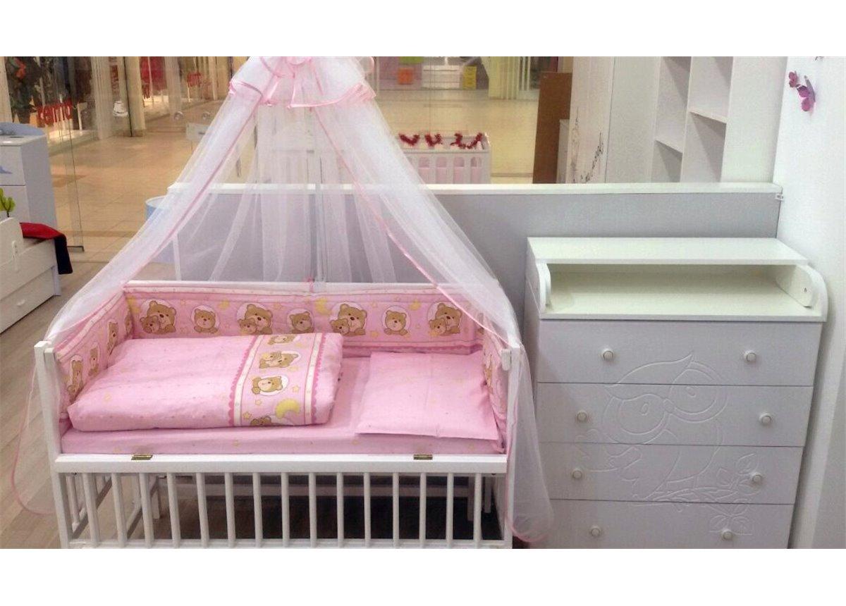 Комплект в детскую Fmebel KD: комод пеленальный + кроватка + матрас + набор белья