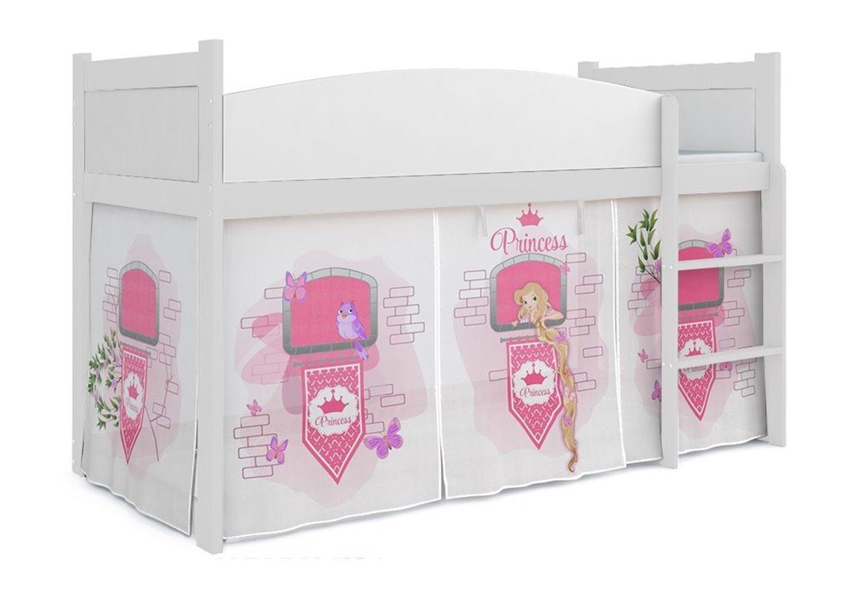 Кровать-чердак низкая ТВИСТ АНТРЕСОЛЬ для девочки Fmebel KA 80x184 Белый