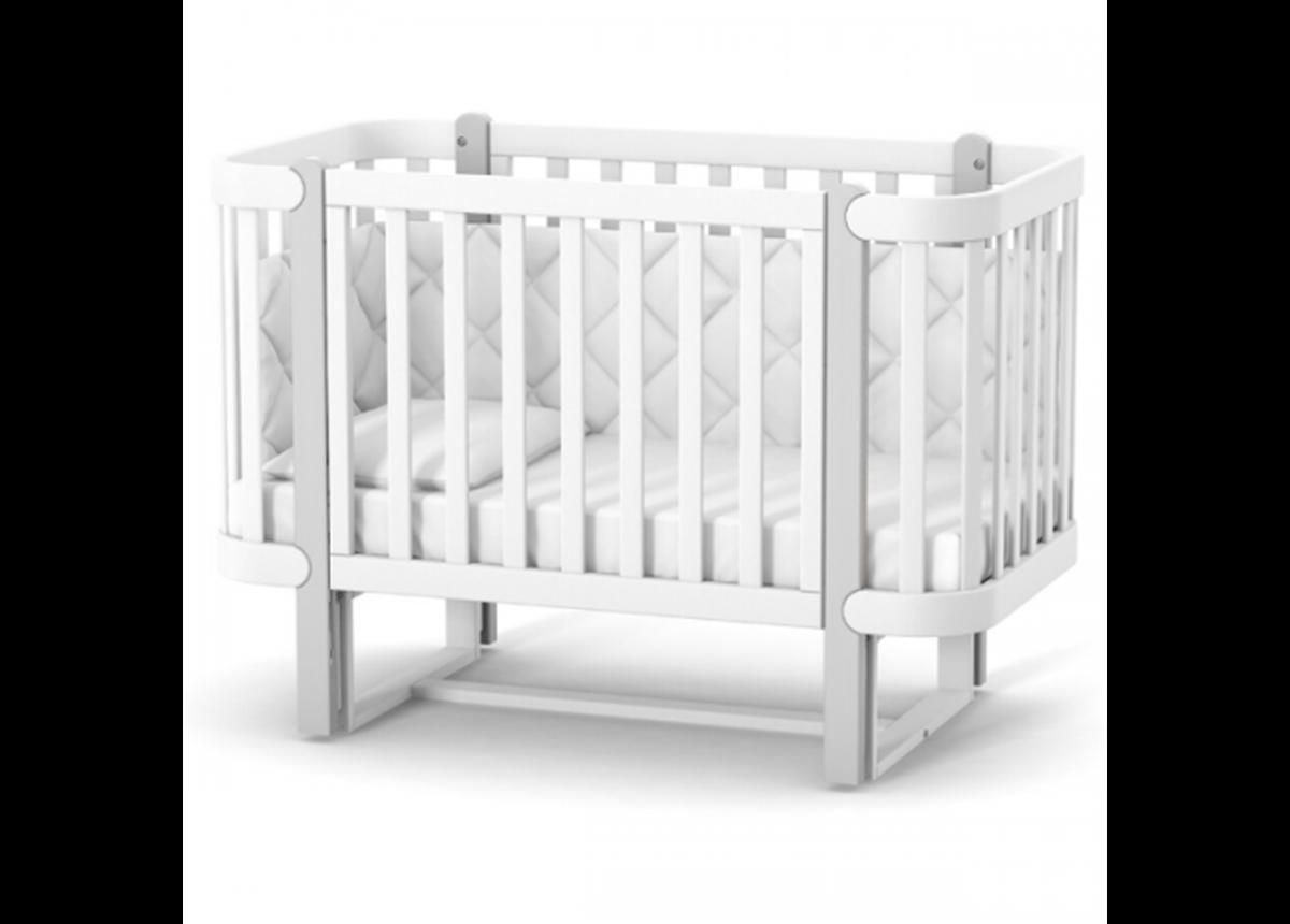 Кроватка с маятниковым механизмом Монако ЛД5 Верес 60x120 Бело-серый