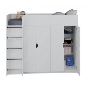 Кровать-чердак со шкафом Вермонт Fmebel 90x200