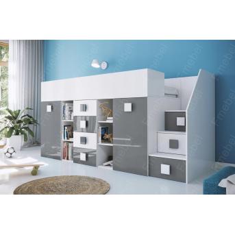 Кровать-чердак со шкафом Висконсин Fmebel 90x200