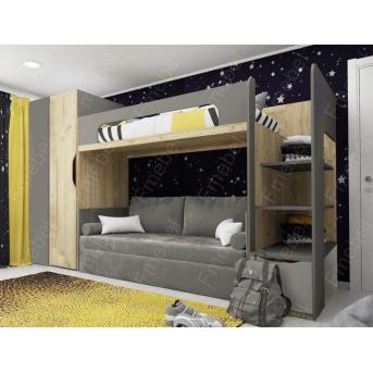 Кровать-чердак с местом под диван КЧ 54 Fmebel 80x190