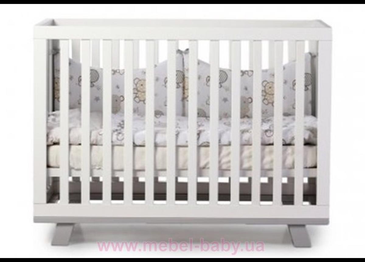 Не качающаяся кроватка Соня ЛД1 Манхэттен без колес Верес 60х120 Бело-серый