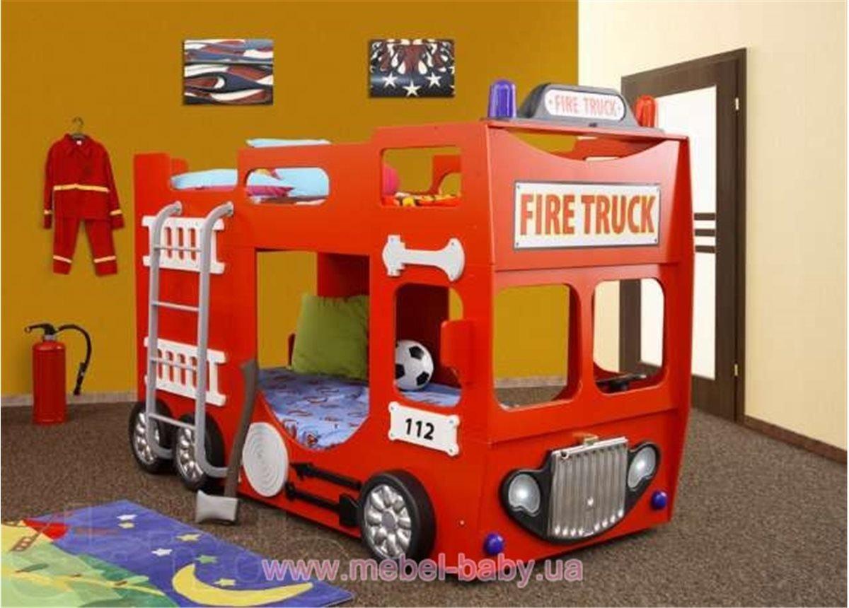 Двухъярусная кровать-машинка с матрасом Пожарная машина Plastiko 90x190