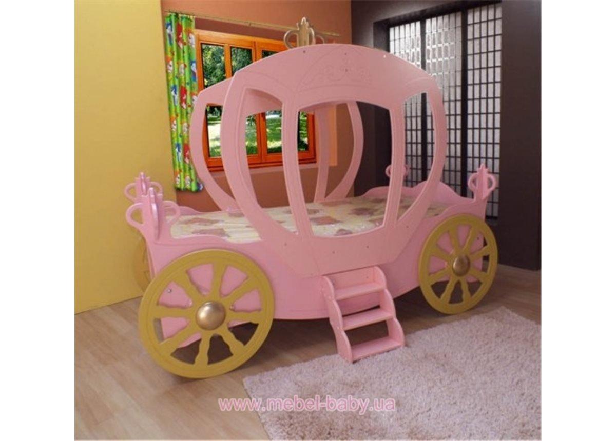 Кровать-машинка с матрасом Колесница Пластико