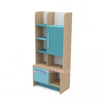 Книжный шкаф кв-04-1 Акварели Бирюзовые